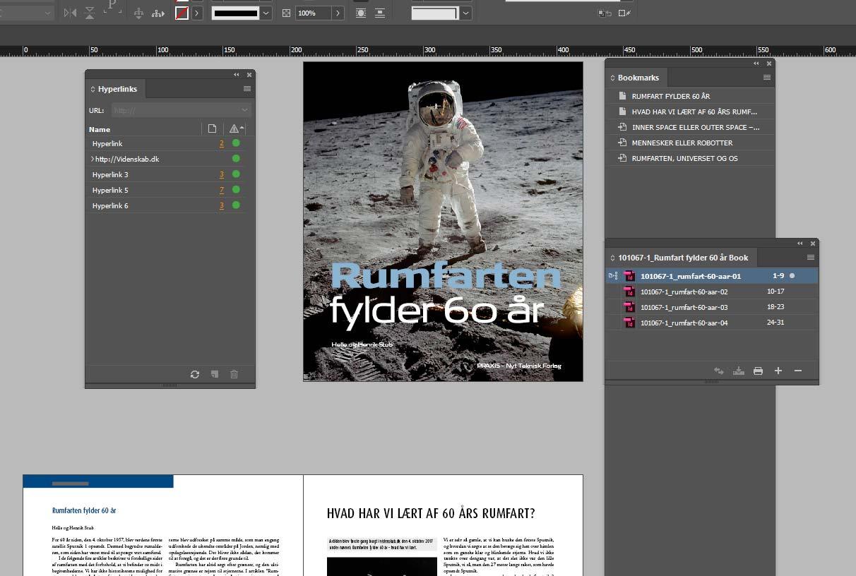 E-bog - opsætning i Indesign. Med bookmarks-, hyperlink- og book-vinduer.