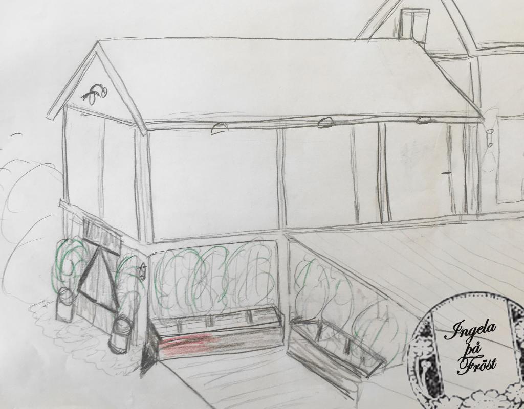 De första skisserna av Fröstvägens vinterträdgård. Vinterträdgården för liv och lust - för te och citron!