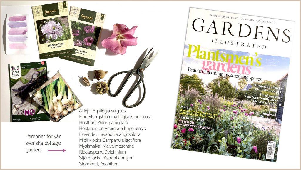 Färgpalett. Cottage garden för  blom- färgälskaren