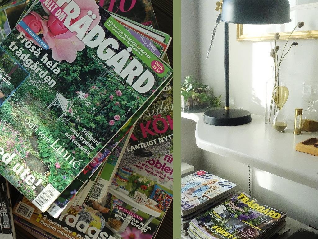 Här bor det en läsande kvinna. tidningar magasin sparar