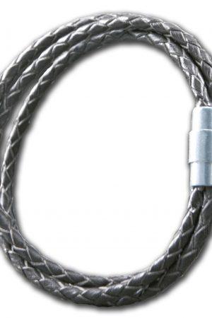 297020001 Bracelet, Black leather, 18,5cm, Steel clasp