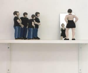 Little Black Dress sculpey figures mirror