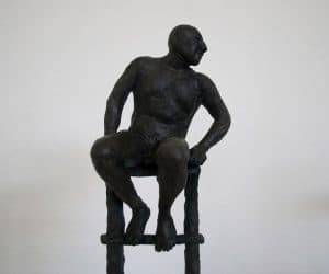 Man on Ladder (detail) bronze