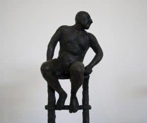 Man on Ladder (detail) bronze