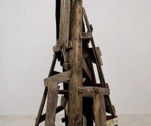 Tower #4 reclaimed wood sculpey figures