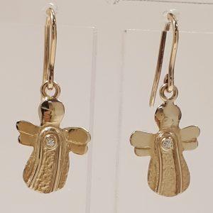 Øreringe skytsengle i guld