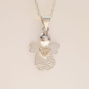 Skytsengel i sølv med guld hjerte