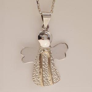 Skytsengel sølv med guld, som vedhæng i kæde