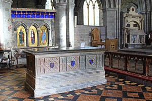 The tomb of Edmund Tudor and shrine of St David, St Davids Cathedral