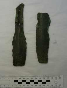 Broken sword pieces from Marazion, Cornwall (author's photo, courtesy of the Royal Cornwall Museum)