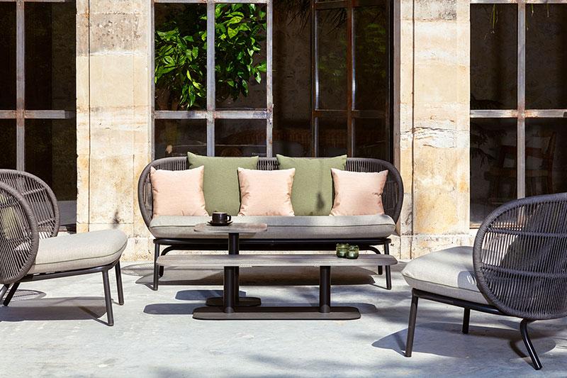 Vincent-Sheppard-Kodo-Lounge-Chair-Kodo-Lounge-Sofa-Kodo-Cocoon-Kodo-Coffee-Table-Slate-Morrocan-Brown-Cushion-Elena-Almond-Matcha-Green-Peach