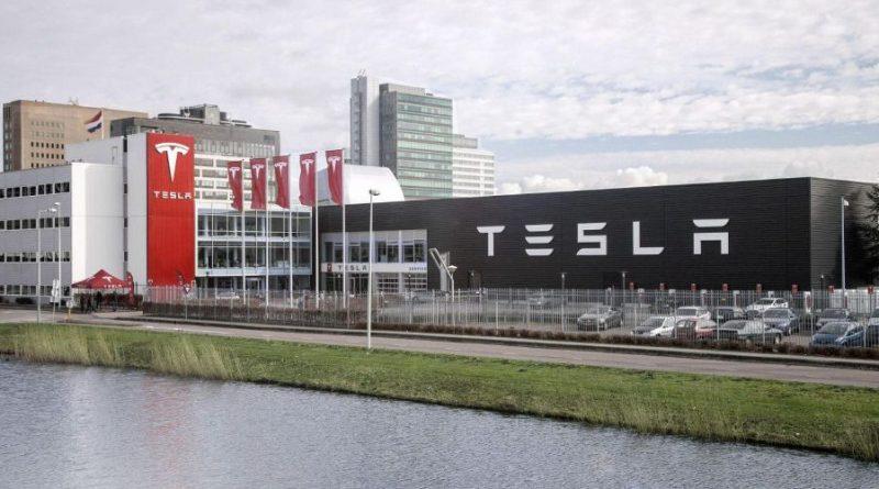 Het hoofdkwartier van Tesla in Palo Alto