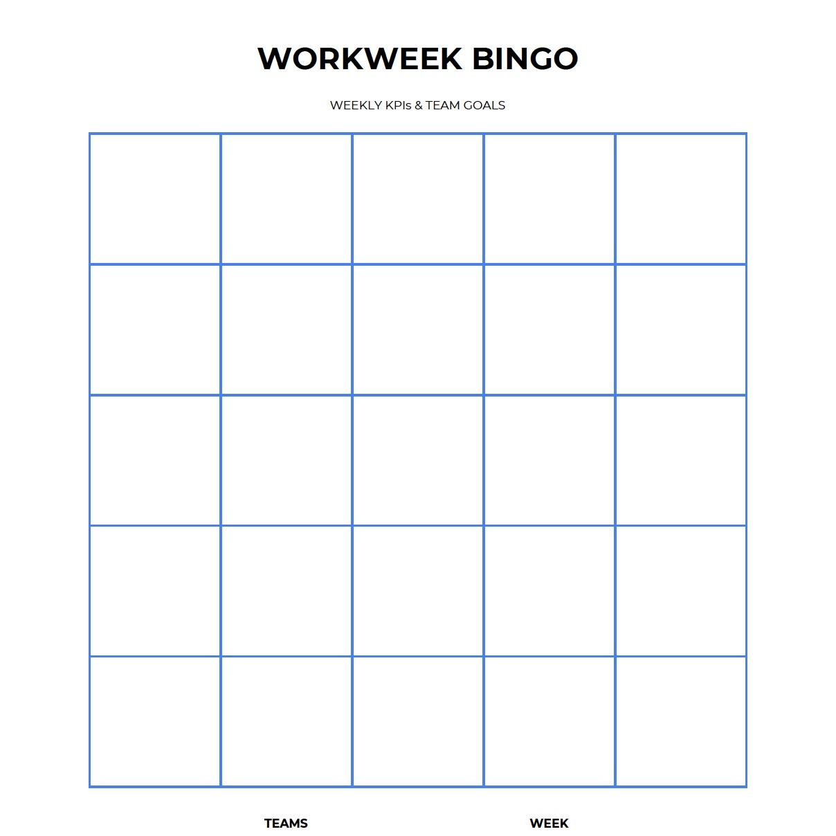 IMPROV Communication Workweek Bingo Card