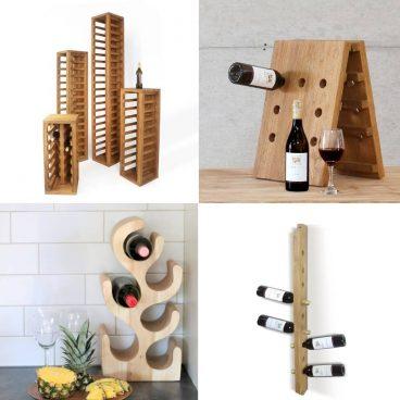 kollage med olika vinställ av trä