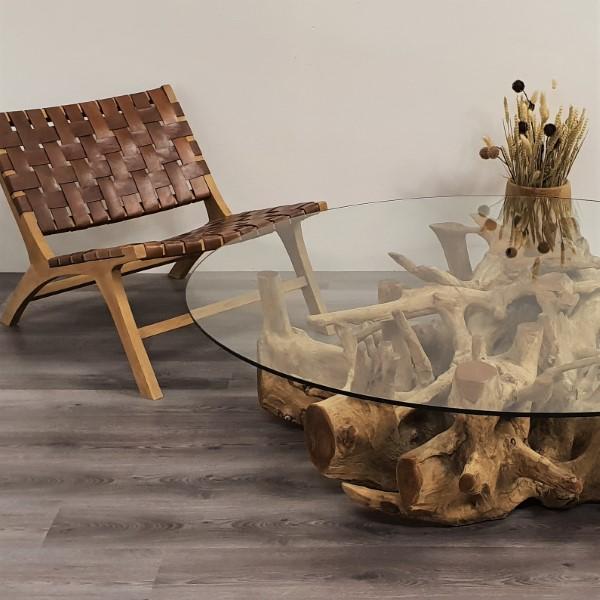 Runt soffbord med glasskiva och träfot