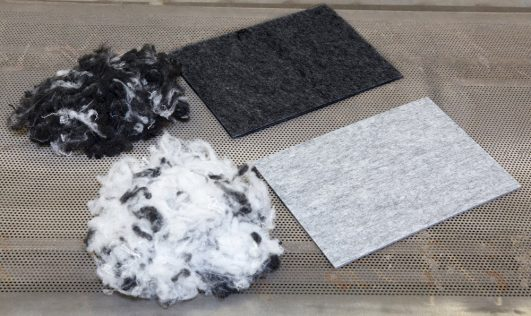 Felt made from PET before being made into acoustic panels