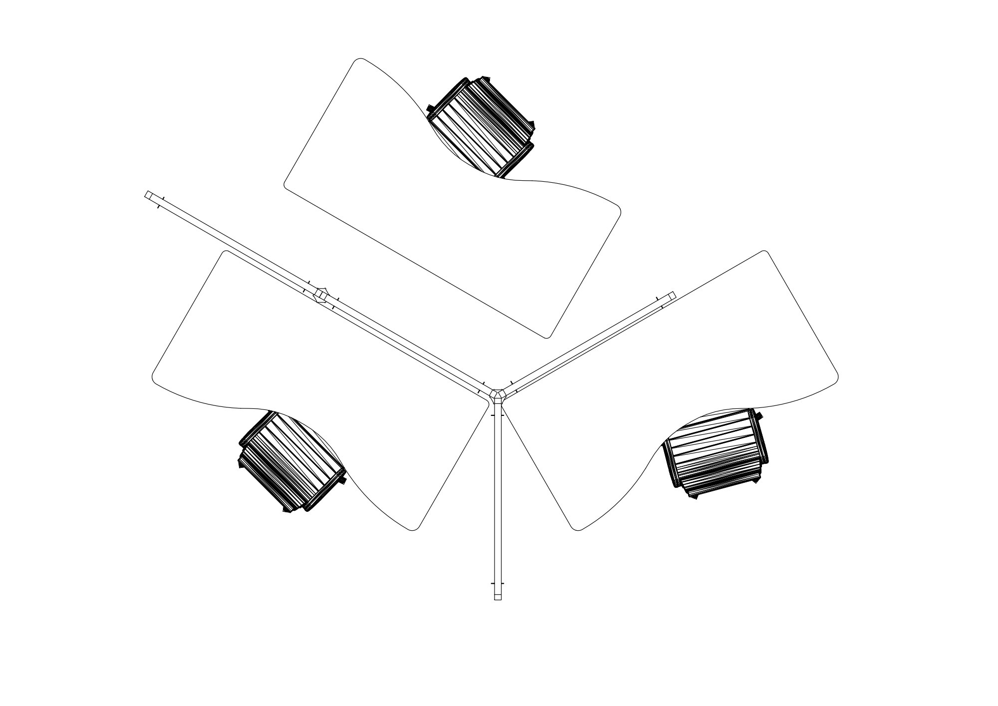 Drawing of acoustic back-to-work screens surrounding three office spaces. Made by Intelligent Space.