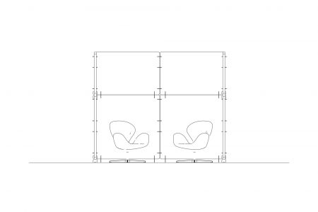 Drawing of acoustic back-to-work screens surrounding two chairs. Made by Intelligent Space.