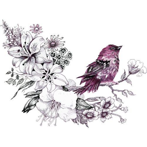 Vogel en bloemen aquarel