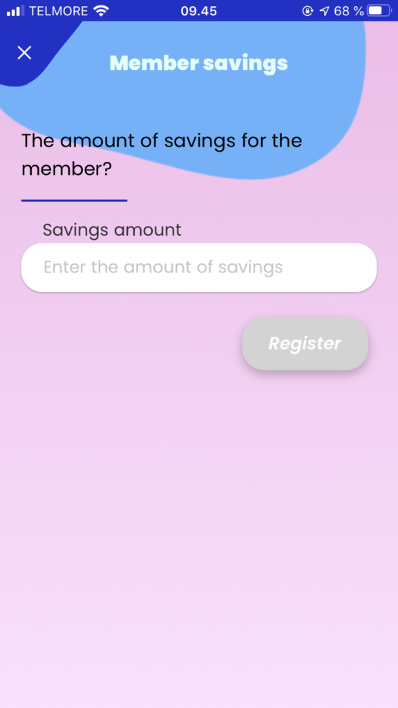 Enter the collected savings amount for each member