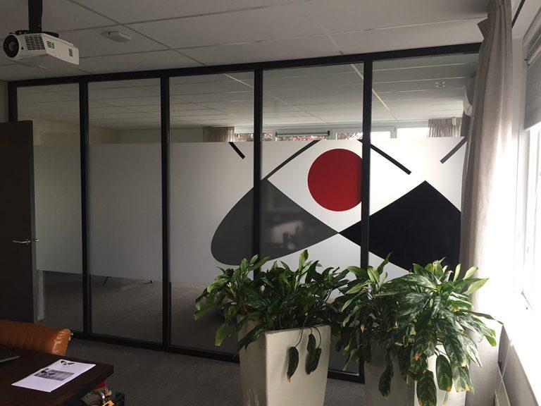 kantoor wand bestickering glas