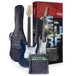 STAGG Surfstar startpaket med blå elgitarr
