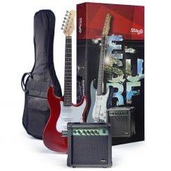 STAGG Surfstar startpaket med röd elgitarr
