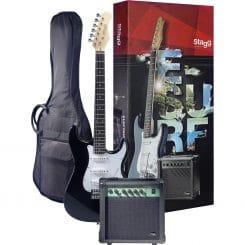 STAGG Surfstar startpaket med svart elgitarr
