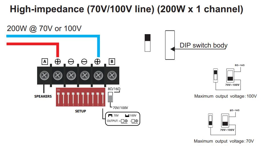 WORK PA200MX inkoppling 100V högtalare