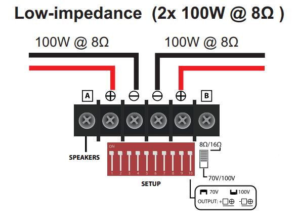 WORK PA200MX inkoppling högtalare