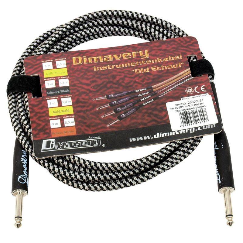 Dimavery instrumentkabel svart och silver