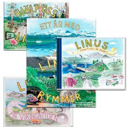 Paket med alla fem Linusböcker.