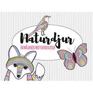 Naturdjur. En målarbok med svenska djur. Omslagsbild.