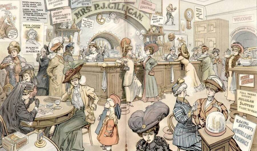 illustration of women in a bar