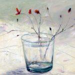 Wasserglas mit Blumen, 70x90, Acryl auf Leinwand