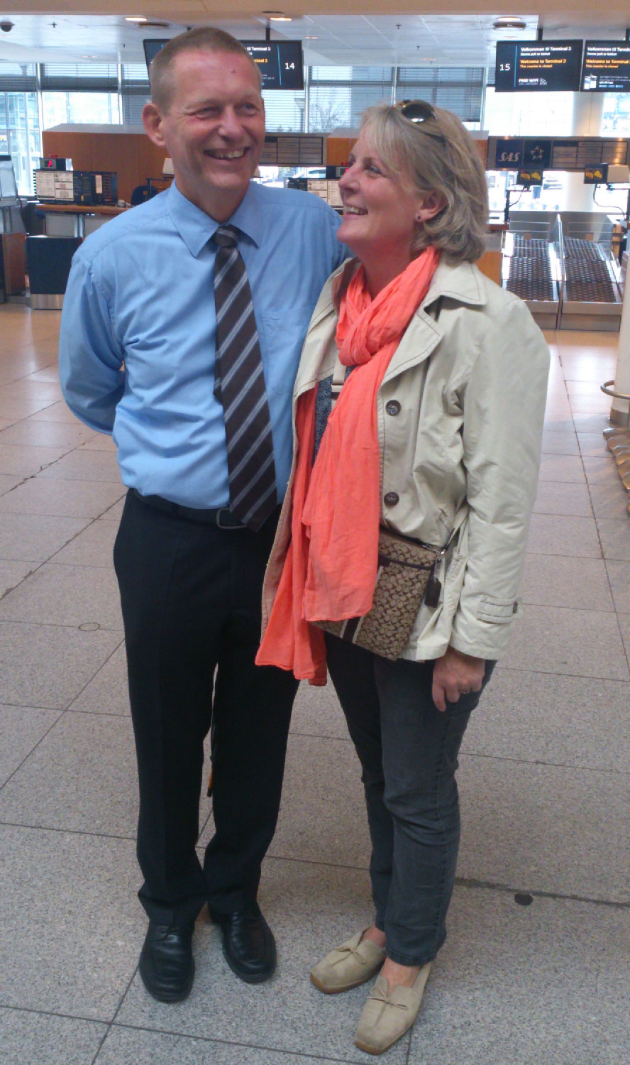 Copenhagen Airport - Kat and Jens (in corporate uniform) Sept 2015