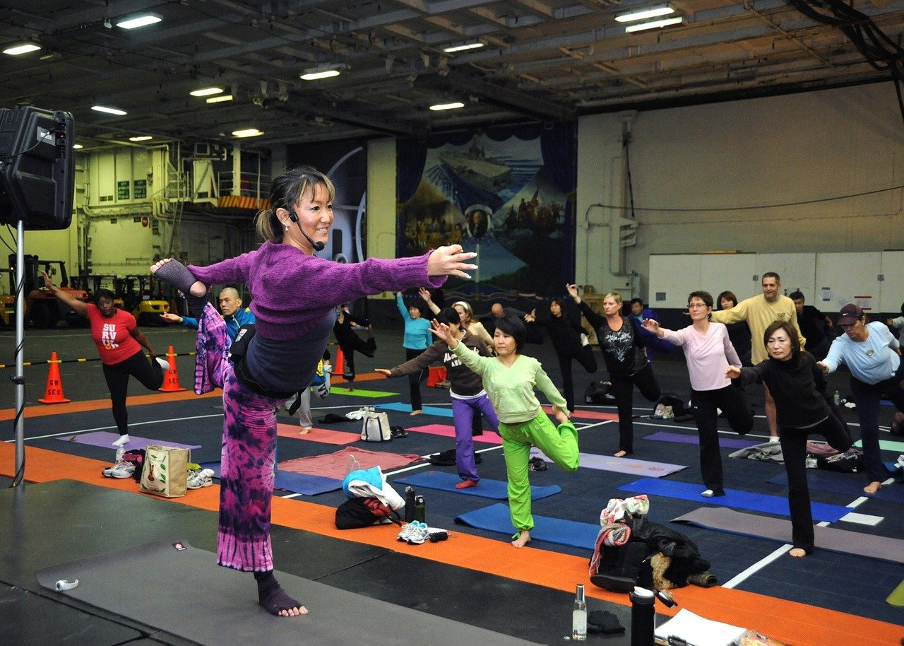 young woman, yoga classes, fitness
