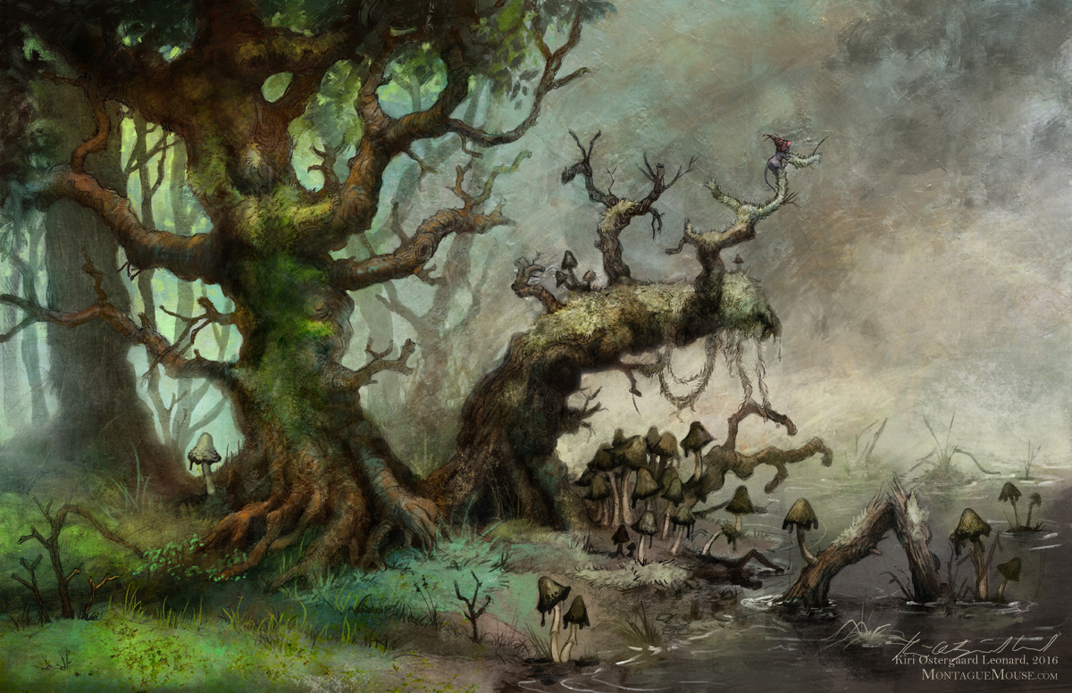 Whimsical children's fantasy art illustration of forest setting with a little mouse looking out over a bog.