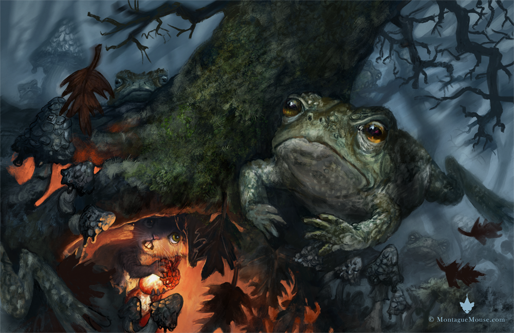 A knot of toads is searching the Wild Woods for Montague Mouse and the sacred acorns. Artwork by Danish illustrator Kiri Østergaard Leonard, 2016. See more at KiriLeonard.com and MontagueMouse.com