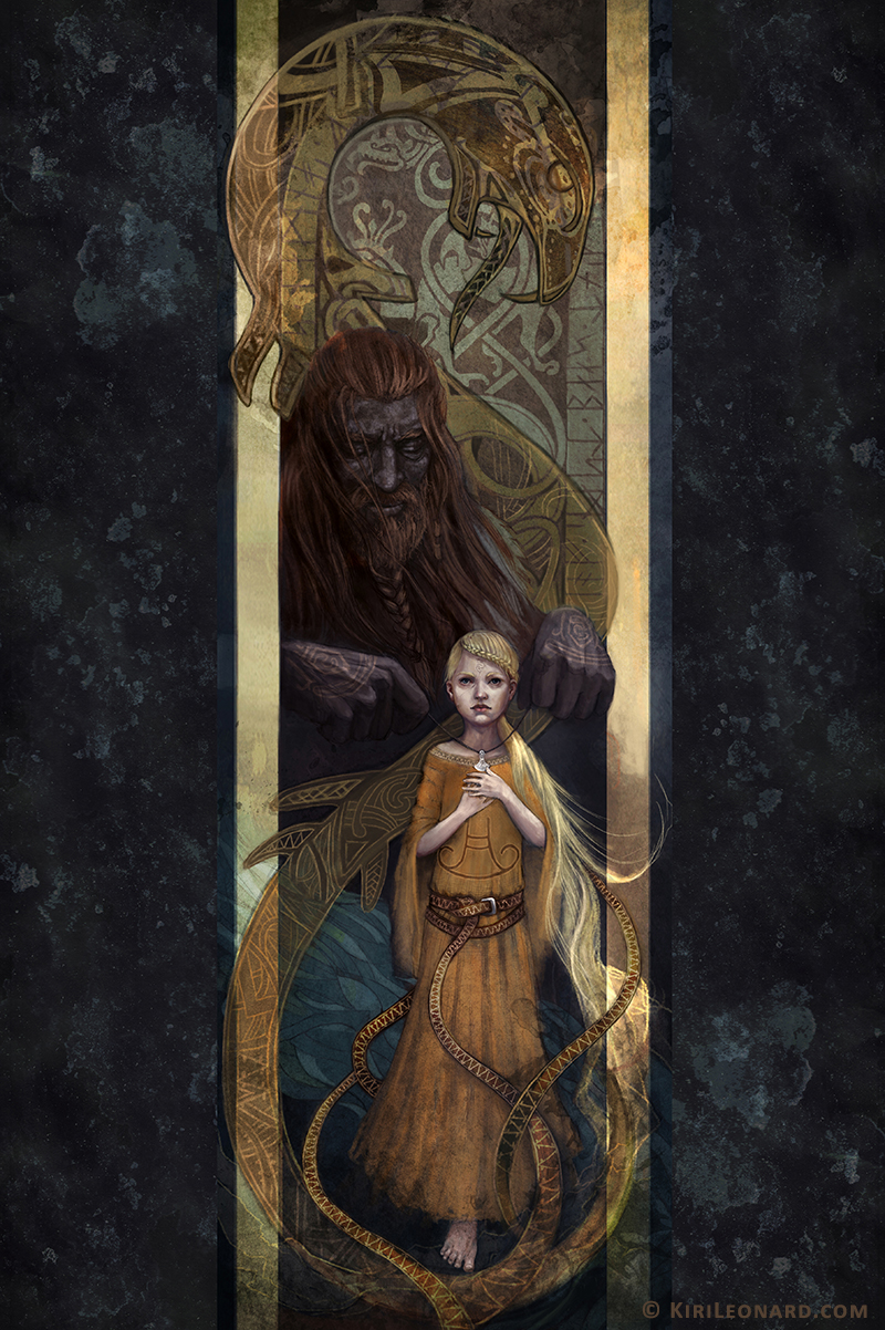 Illustration of a viking who puts a necklace on his daughter while Jörmungandr wraps around them.
