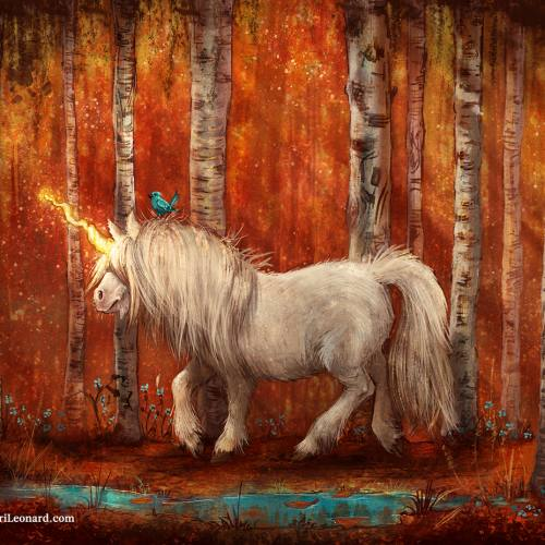 Digital painting of a shetland pony unicorn wandering among birch trees in an autumn forest. Art by KiriLeonard.com