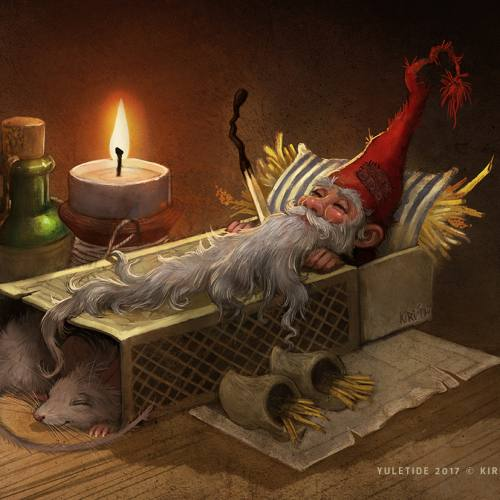 Illustration of a Christmas Gnome sleeping in a matchstick box with his pet mouse. Art by Kiri Østergaard Leonard, 2017
