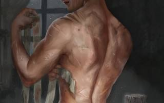 Illustration of scarred back of female fighter pugilist for d&d character Locke Galston by Kiri Østergaard Leonard