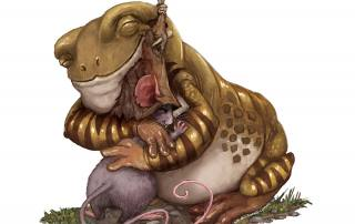 Illustration of a frog and a mouse hugging.