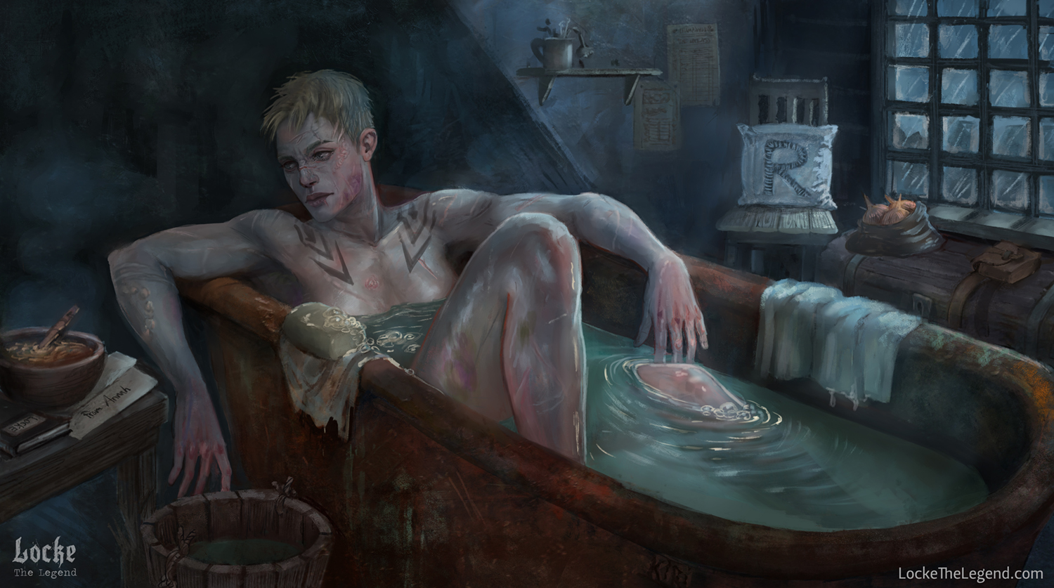 Illustration of D&D character Locke the Legend, Muscular Female Fighter Barbarian in a Bathtub