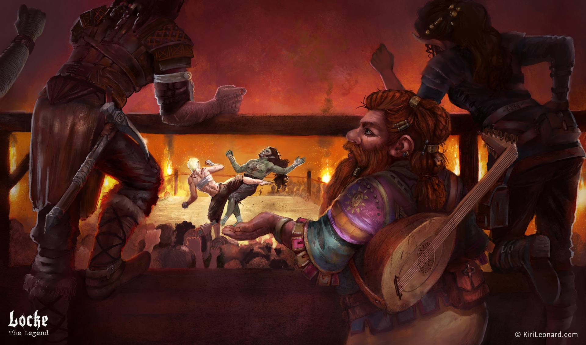 Illustration of D&D characters hanging out in a fighting pit. Female warrior facing an orc.