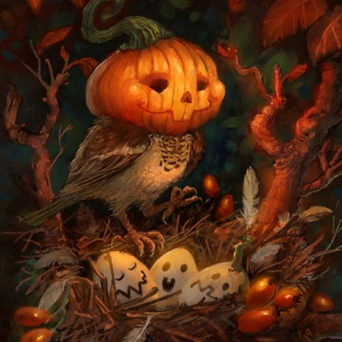Halloween themed Illustration of a Pumpkin Sparrow