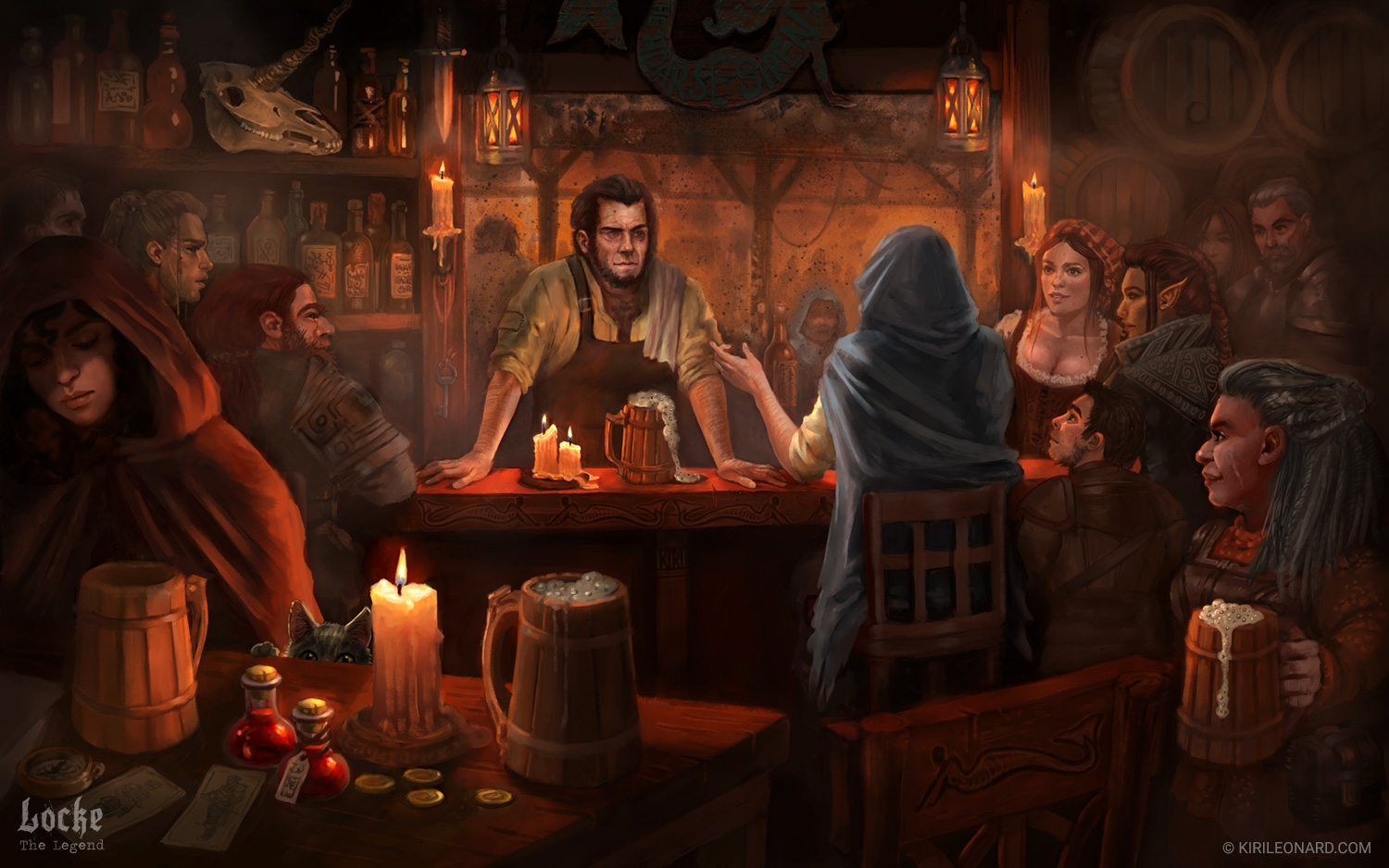 Interior Fantasy Art Tavern Scene for the story of Locke the Legend. Art by Kiri Leonard.