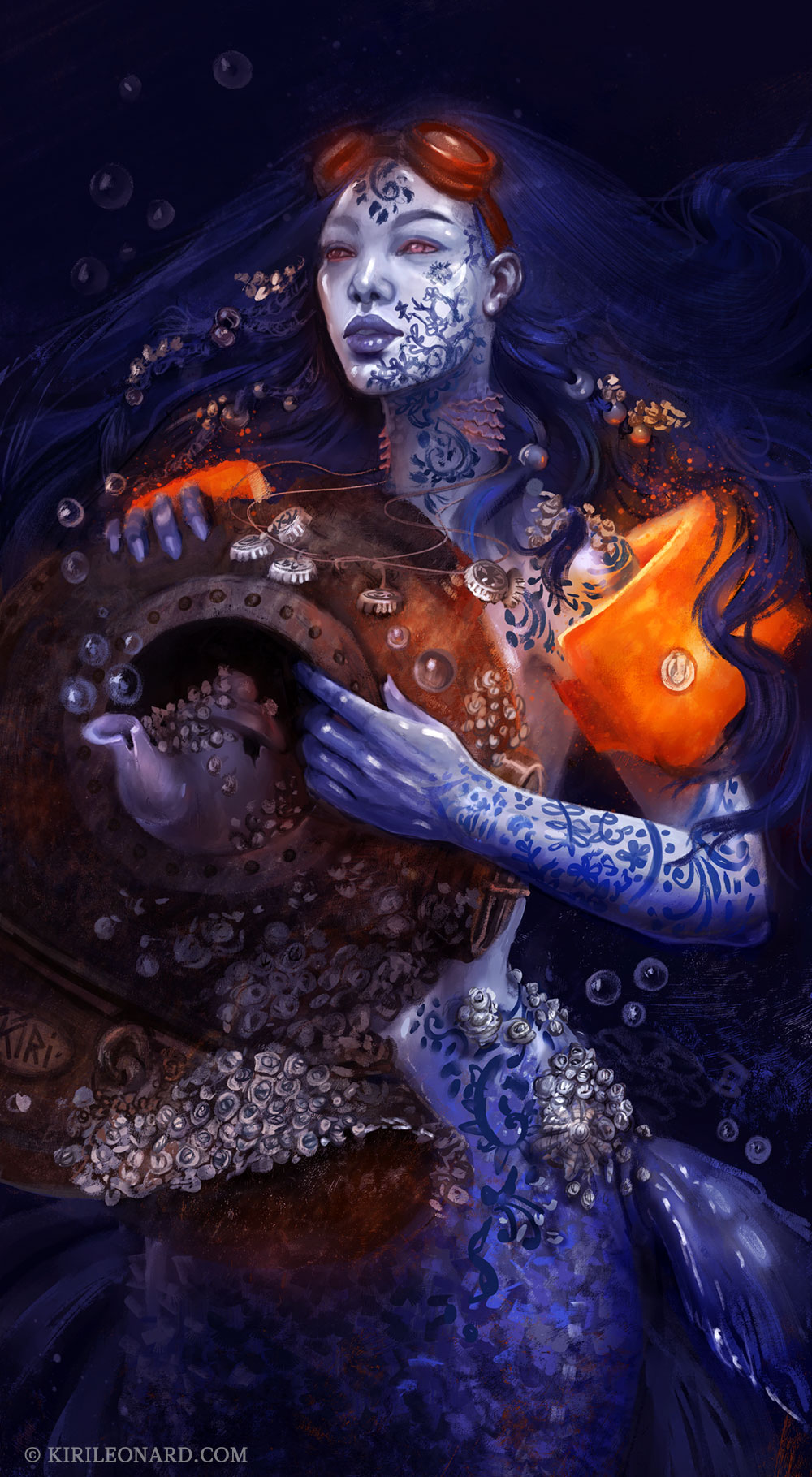 Illustration of a porcelain mermaid with orange floaties by Danish artist Kiri Leonard