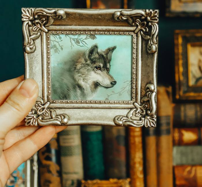 Framed Mini Print: Wolf Guardian